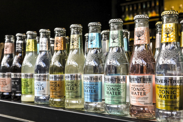 Fever tree bottles on a shelf