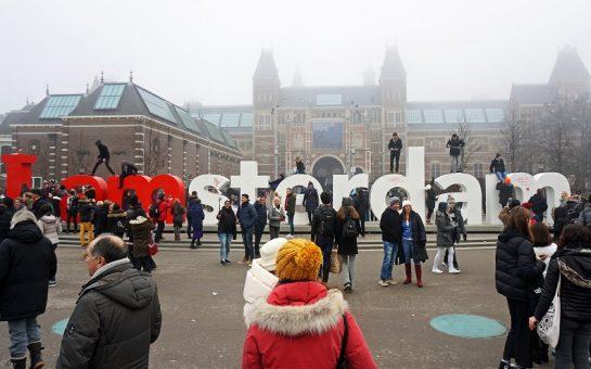 Tourist sign in amsterdam