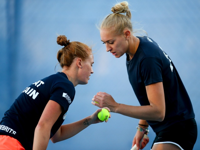 Anna Smith, left, and Jocelyn Rae, in Fed Cup action. Credit LTA