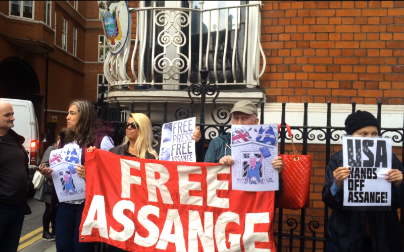 Vigil outside the Ecuadorian embassy in London after Swedish prosecutors drop charges against Julian Assange