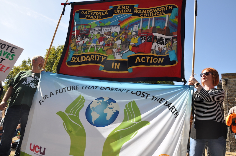 Battersea and Wandsworth trades union council banner and protestors at the global climate strike.