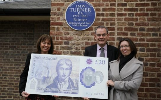 Bank of England at Turners house holding giant new note