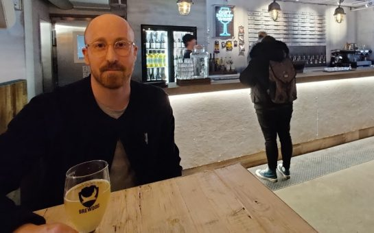 Man drinking in brew dog