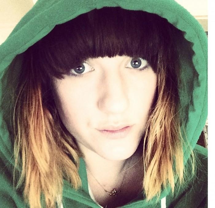 Carrie Barclay selfie dip dye hair