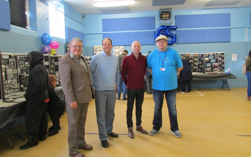 Councillor David Williams, Stephen Hammond MP, Leon Trowbridge chairman of Endeavour, Endeavour Youth Club