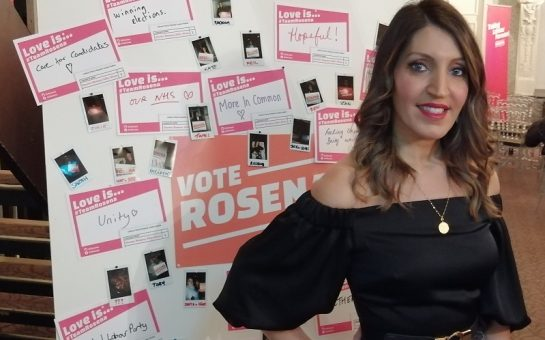 Dr Rosena Allin-Khan in front of campaign posters