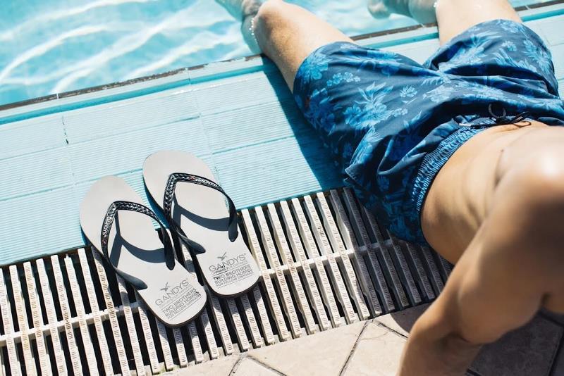 Gandys flip flops and shorts