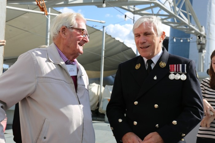 HMS Belfast WWII crewman and current captain courtesy of IWM