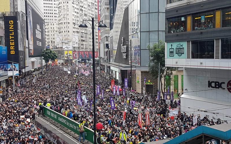 A huge crowd of people in Hong Kong.