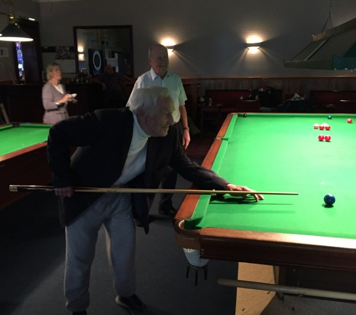 Leonard Jewell playing snooker Tooting club