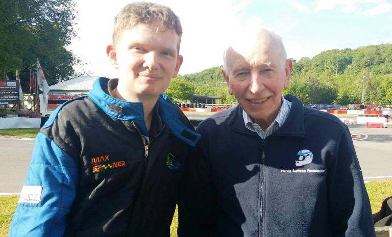 Max Spooner with John Surtees 1964 F1 World Champion