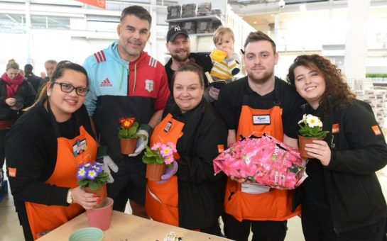 Nick Easter with the B&Q staff