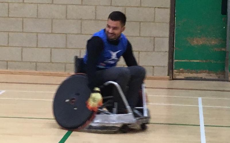 Reporter Josh Graham enjoying wheelchair rugby