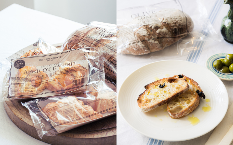 A collage. On the right some apricot danishes in wrapping and on the left some olive bread on a plate.