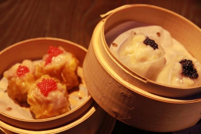 Prawn & chicken open dumplings and monkfish & lime phoenix eye dumplings
