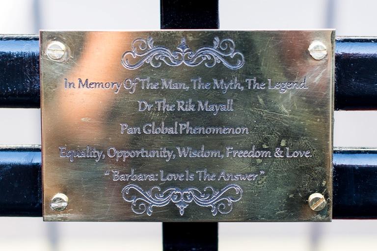 Rik Mayall Bench plaque photographer David Tett