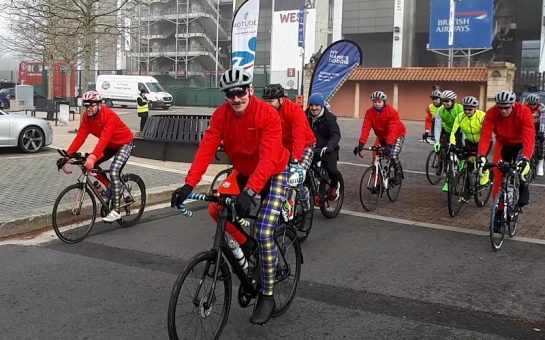 Mark Wainwright and 11 cyclists depart from Twickenham Stadium