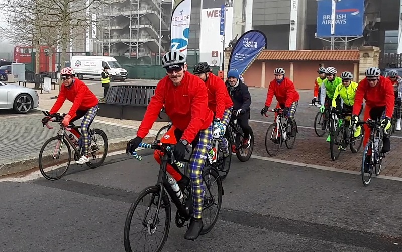 Mark Wainwright and 11 cyclists depart from Twickenham Stadium