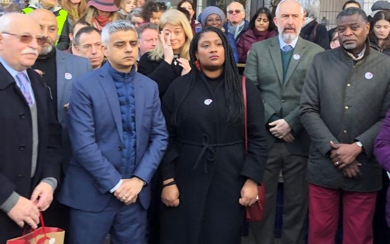 Saqiq Khan and Bell Ribeiro-Addy stand at a vigil in Streatham