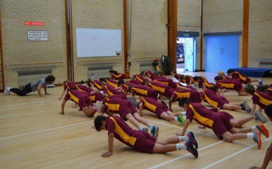 Joe Wicks leads pupils from Orleans Park School through a workout
