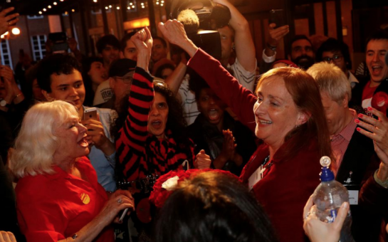 Emma Dent Coad and supporters