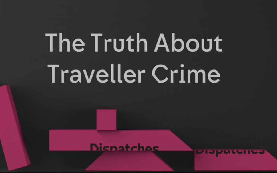 A screen grab of the title page of the Channel 4 documentary saying 'The Truth About Traveller Hate Crime' in white writing on a black background.
