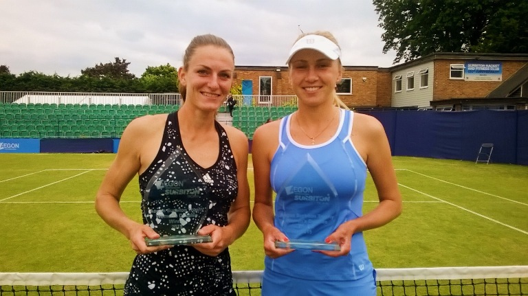 Surbiton tennis Xenia Knoll (left) Lyudmyla Kichenok (right)