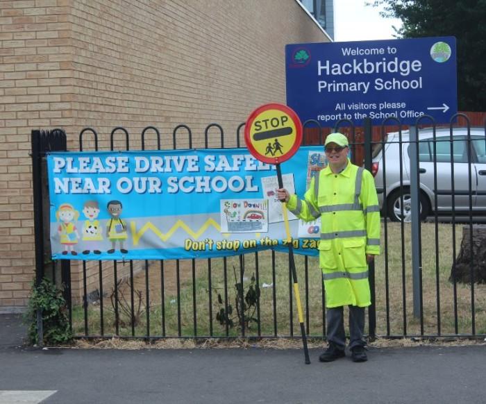 Sutton Council lollipop man Hackbridge Primary School