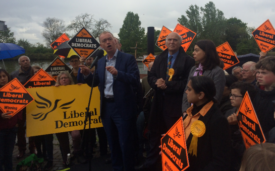 Tim Farron with Vince Cable and Sarah Olney in Surbiton