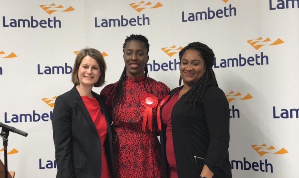 Helen Hayes (L) poses with other Labour winners in London