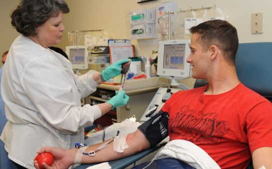 man giving blood