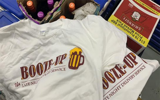 Booze Up company T-Shirts and wine bottles