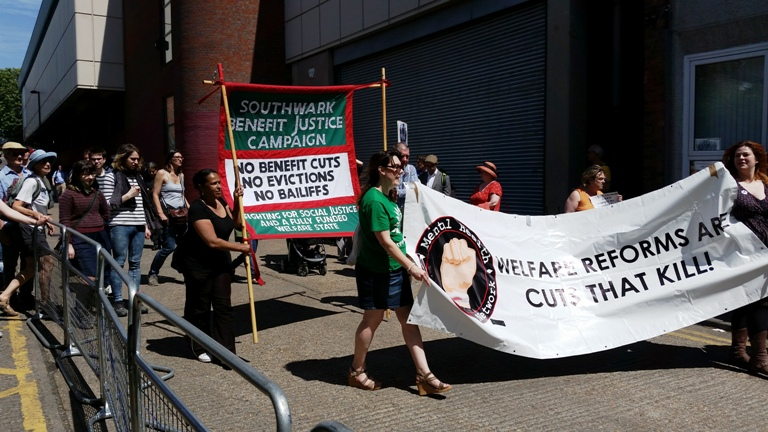 jobcentre protest banners