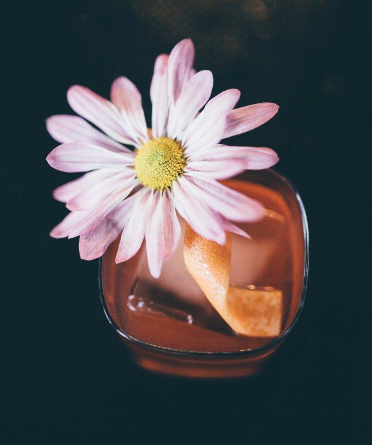 three six six cocktail flower and orange peel