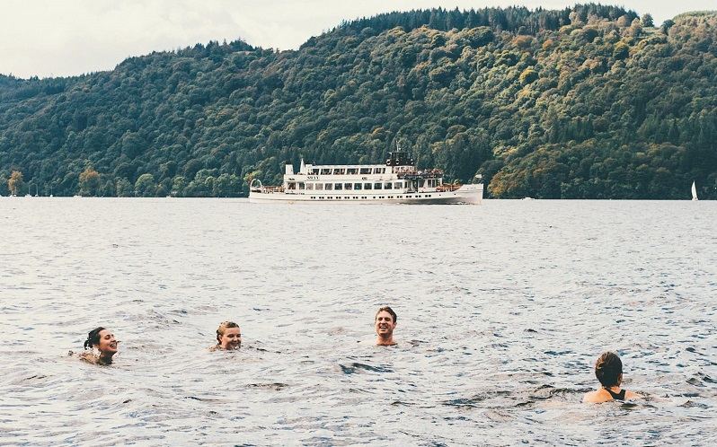 people wild swimming