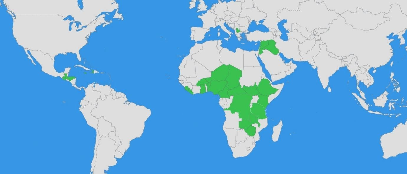 A map of the world with these countries highlighted green: Burkina Faso, Demographic Republic Of Congo, Ethiopia, Liberia, South Sudan, Palestinian Territories (Gaza and West Bank), Lebanon, Guatemala, Haiti, Jamaica and Honduras