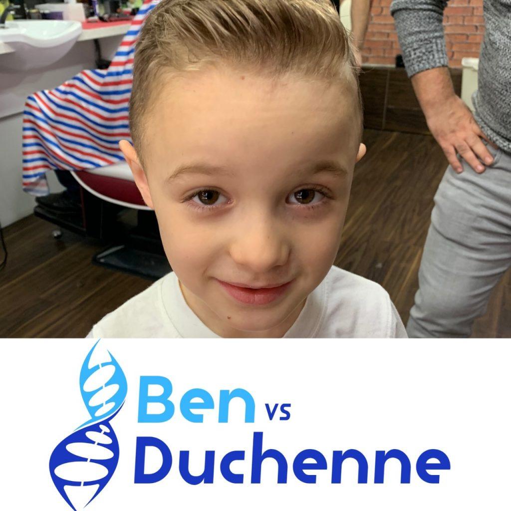 Ben Clarke, 6, with the Ben vs Duchenne charity logo.