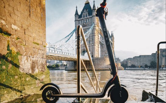 Elka e-scooter at London bridge embankment
