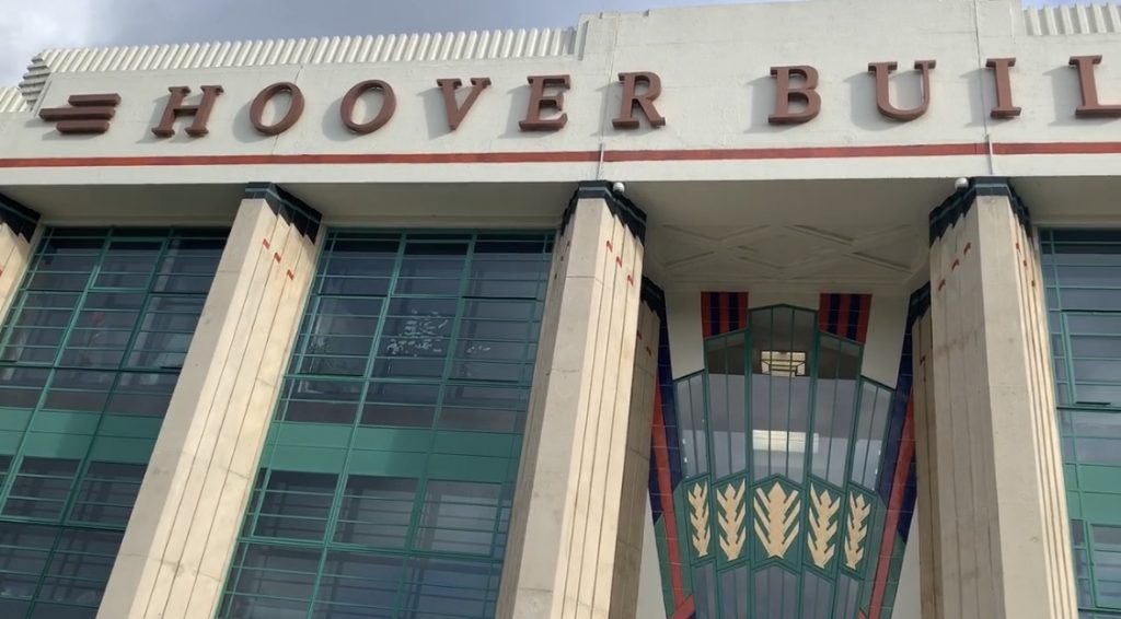 A close up of the front of the Hoover Building