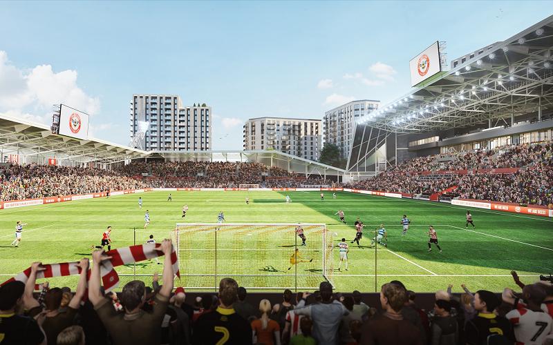 A CGI of Brentford's new stadium