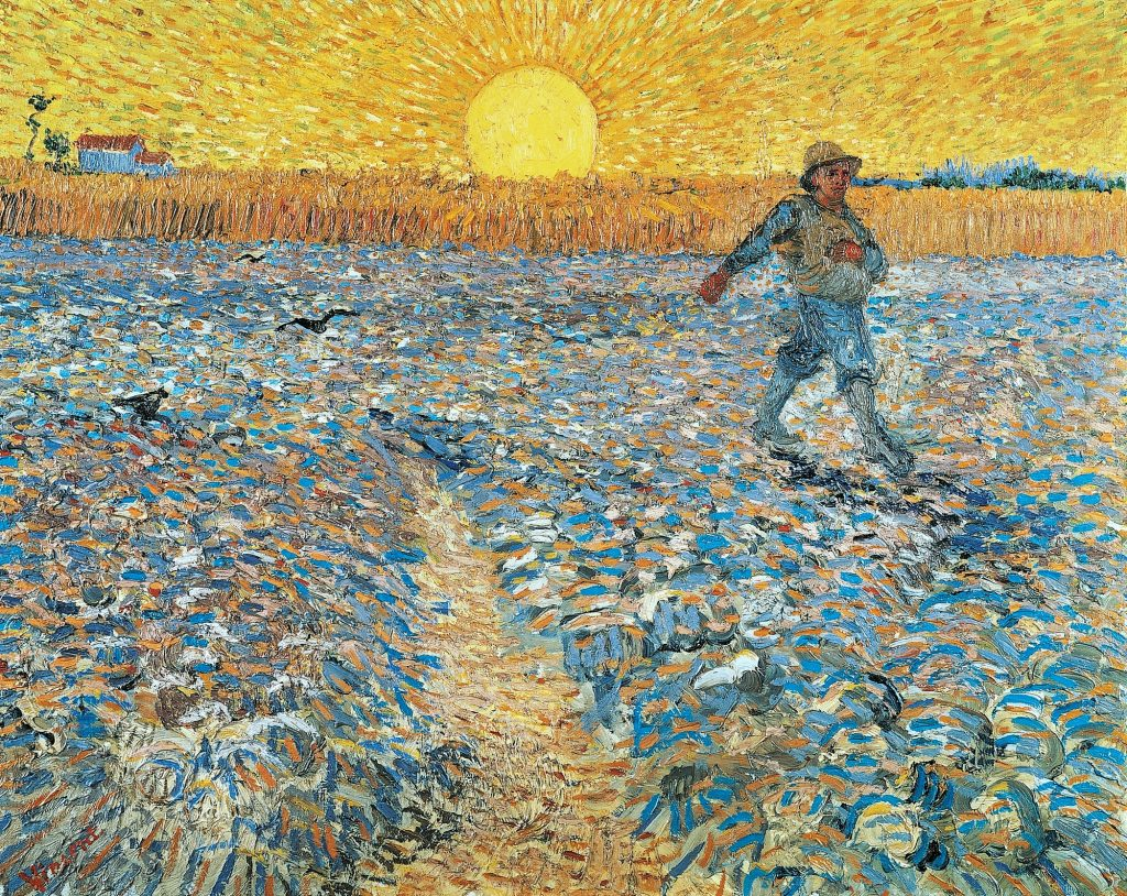 Image of famous Van Gogh painting, The Sower at Sunset which depicts a sower walking across a field as the sun sets over it. The colours are very bright.