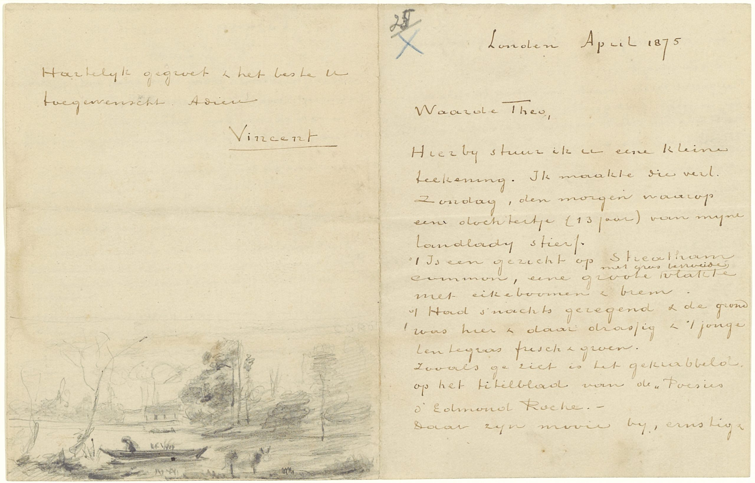 Image of a letter Van Gogh sent to his brother whilst in London. The paper is yellowed and there's a sketch at the bottom of the page.