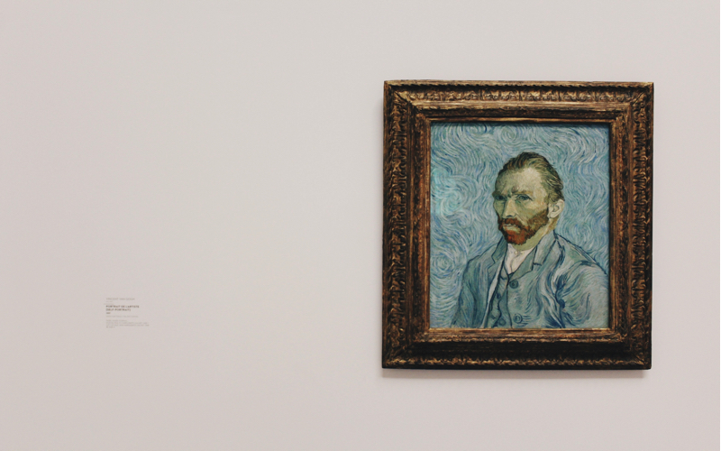 Photo of a framed portrait of Vincent Van Gogh