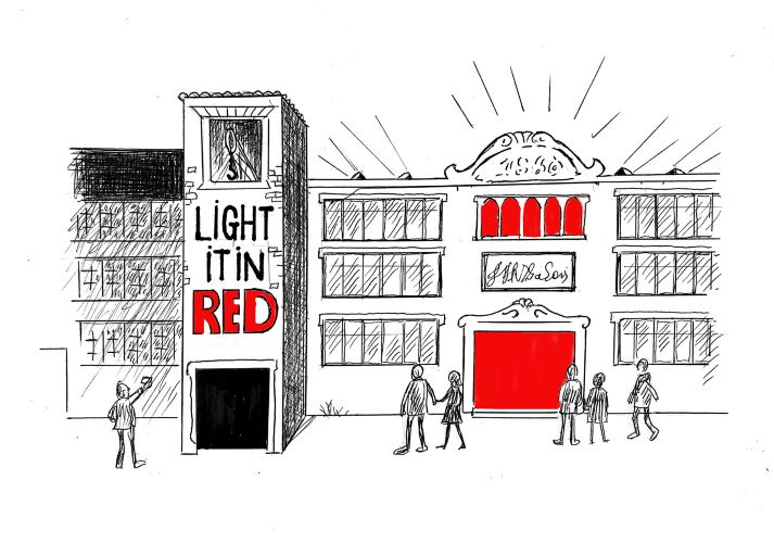 Illustration of a Victorian warehouse with red for #LightItInRed campaign