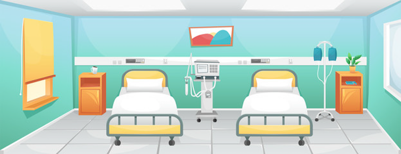 Picture shows two empty hospital beds