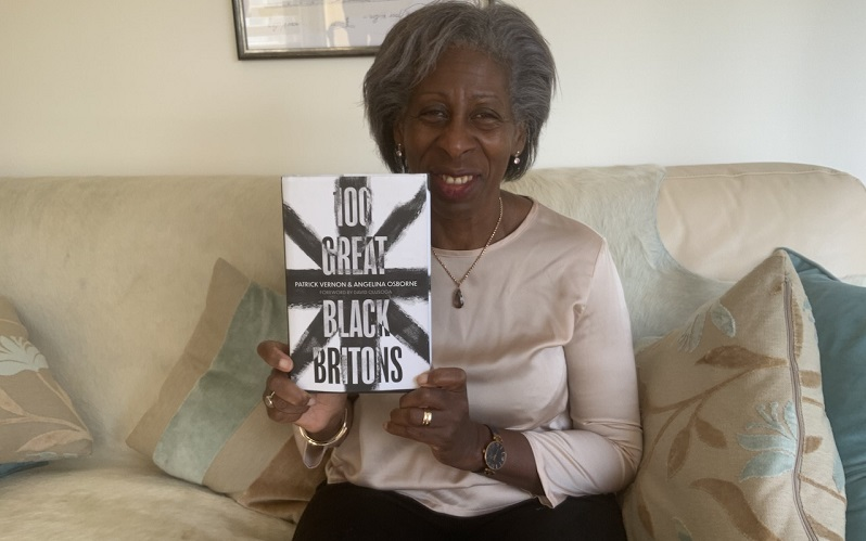 yvonne davis with the book 100 great black britons
