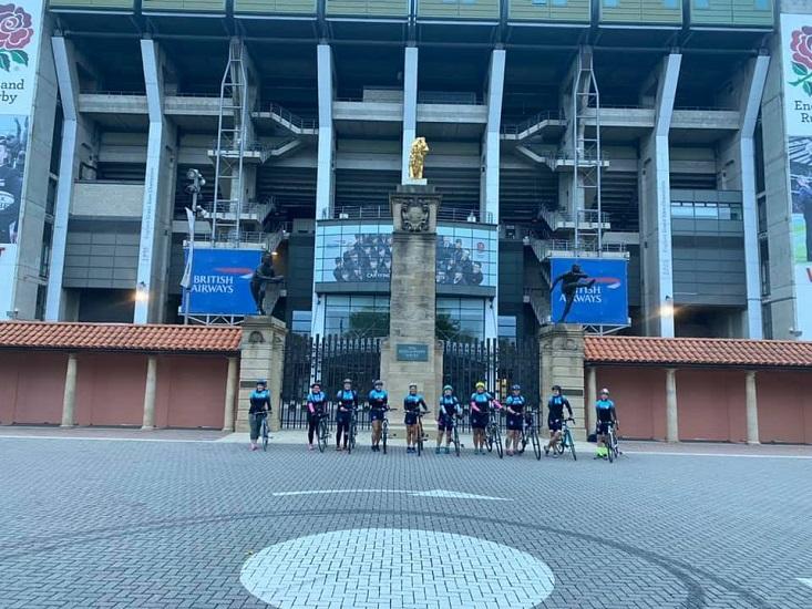Supermarine Ladies RFC outside Twickenham stadium before the race.
