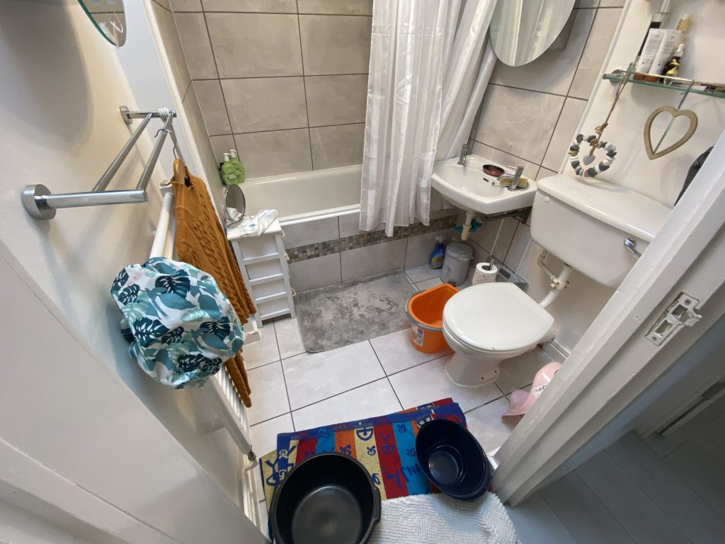 Janet Gayle's bathroom prepared for flooding