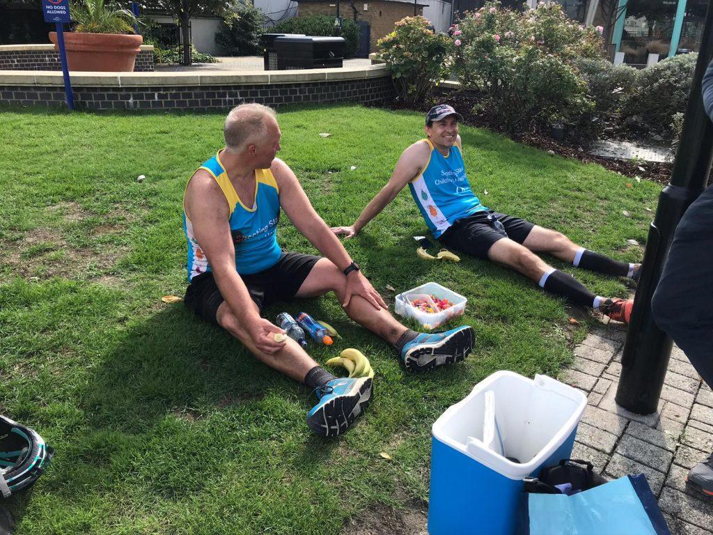 Runners enjoying a post race snack