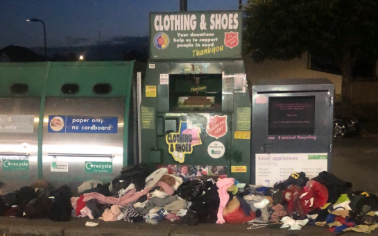 The Salvation Army clothing bank resembles an overflowing bin